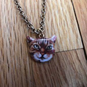 18 inch Antiqued Gold Chain Orange Cat